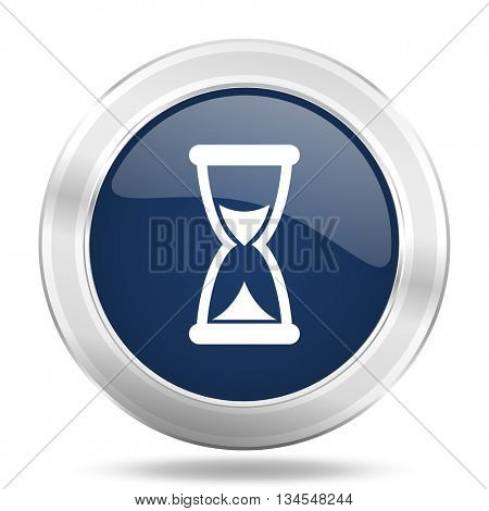 time icon, dark blue round metallic internet button, web and mobile app illustration