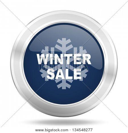 winter sale icon, dark blue round metallic internet button, web and mobile app illustration