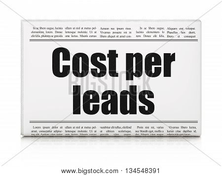 Finance concept: newspaper headline Cost Per Leads on White background, 3D rendering