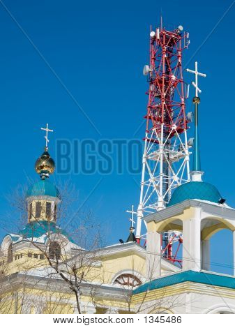 Past And Future - Cellular Tower And Church