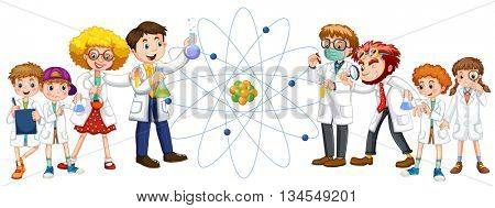 People in white gown and sciene symbol illustration