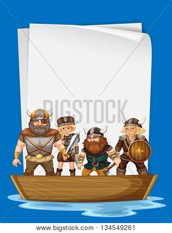 Paper design with vikings on boat illustration