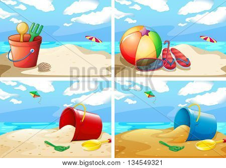 Scenes with beach and toys illustration
