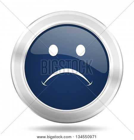 cry icon, dark blue round metallic internet button, web and mobile app illustration