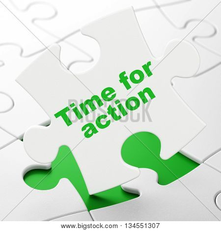 Time concept: Time For Action on White puzzle pieces background, 3D rendering