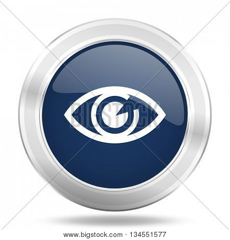 eye icon, dark blue round metallic internet button, web and mobile app illustration