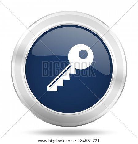 key icon, dark blue round metallic internet button, web and mobile app illustration