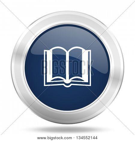 book icon, dark blue round metallic internet button, web and mobile app illustration