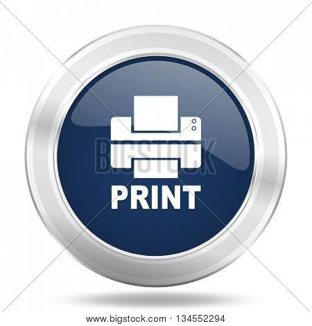 printer icon, dark blue round metallic internet button, web and mobile app illustration