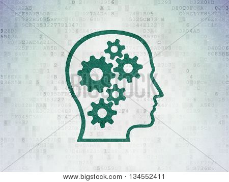 Marketing concept: Painted green Head With Gears icon on Digital Data Paper background