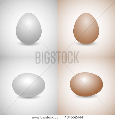 Icons eggs white and yellow disposed vertically and horizontally isolated on a gray and yellow background