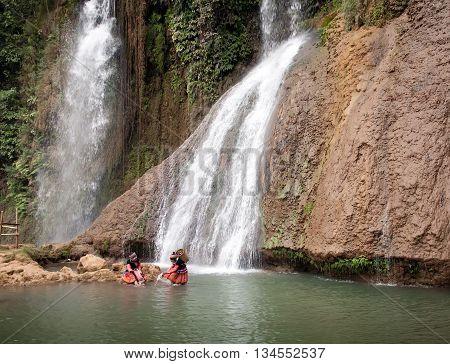 SON LA, VIET NAM, February 1, 2016 waterfalls, affectionately called the strip, mountains, Moc Chau, Son La, Vietnam