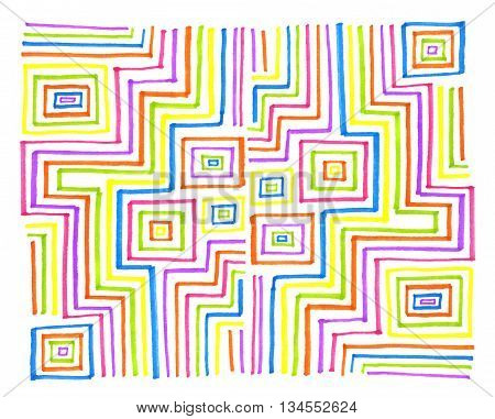 Abstract colorful rectangular pattern on white background hand draw
