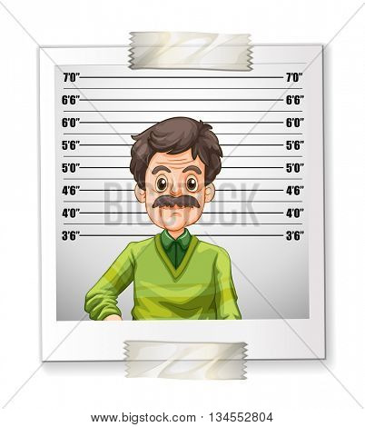 Man photo with height measurement illustration