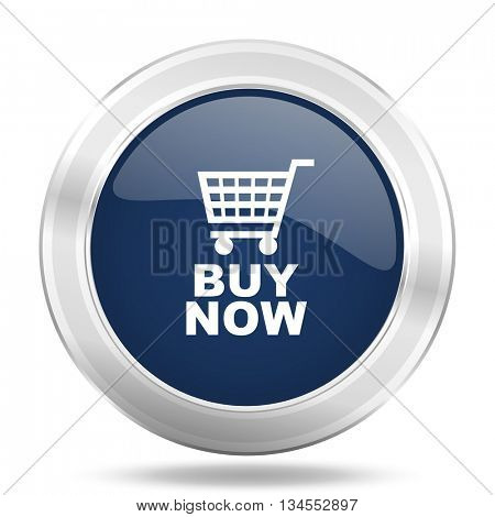 buy now icon, dark blue round metallic internet button, web and mobile app illustration