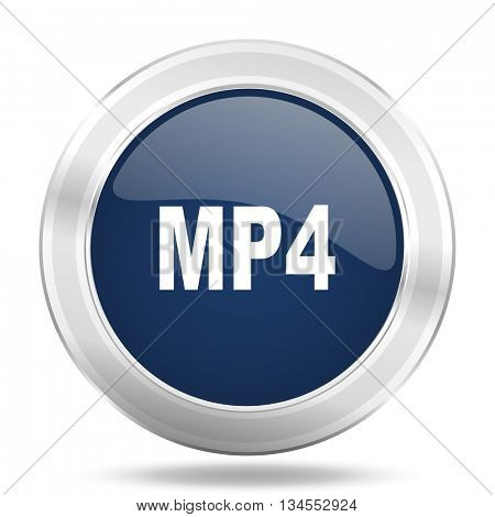 mp4 icon, dark blue round metallic internet button, web and mobile app illustration