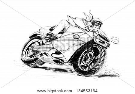 Big Bike Riding on the Road Curve cartoon pencil sketch free hand black and white color isolated background.