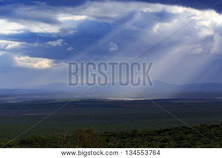 Sun Rays Through Clouds - Addo Landscape