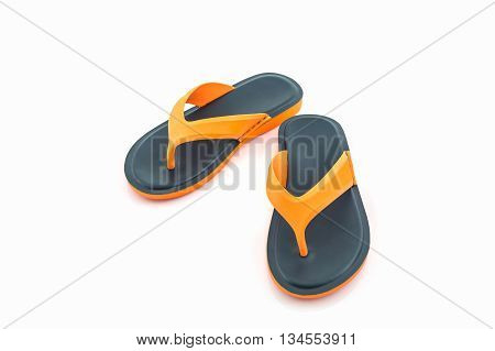 Colorful of Sandals shoes. Orange and black Colors flip flops on white background.