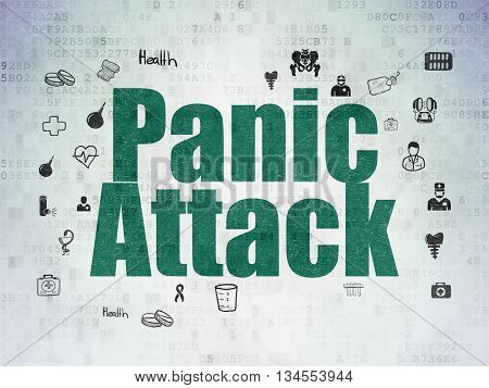 Healthcare concept: Painted green text Panic Attack on Digital Data Paper background with  Hand Drawn Medicine Icons