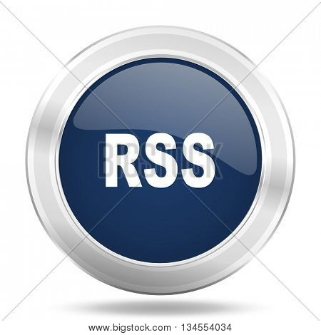 rss icon, dark blue round metallic internet button, web and mobile app illustration