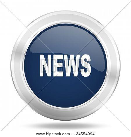 news icon, dark blue round metallic internet button, web and mobile app illustration