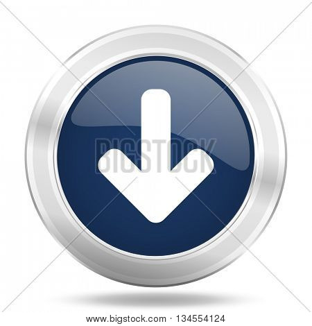 download arrow icon, dark blue round metallic internet button, web and mobile app illustration
