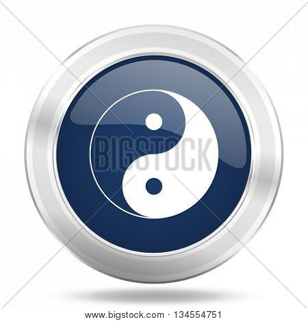 ying yang icon, dark blue round metallic internet button, web and mobile app illustration