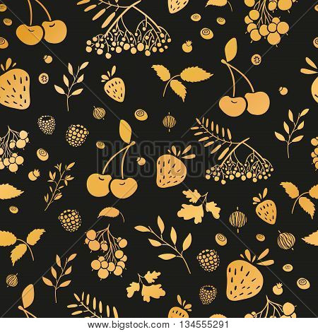 Seamless wallpaper pattern with gold berries. Seamless background with berries on a black background. Wallpapers with natural decor in an organic style. Vector illustration