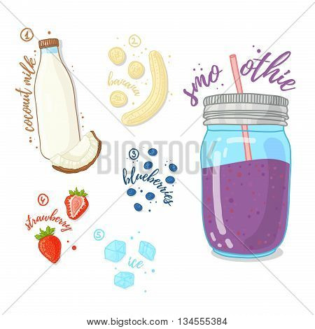 Berry cocktail for healthy life. Smoothies with blueberry, coconut milk, strawberry and banana. Recipe berry smoothie in a glass jar. Vector illustration