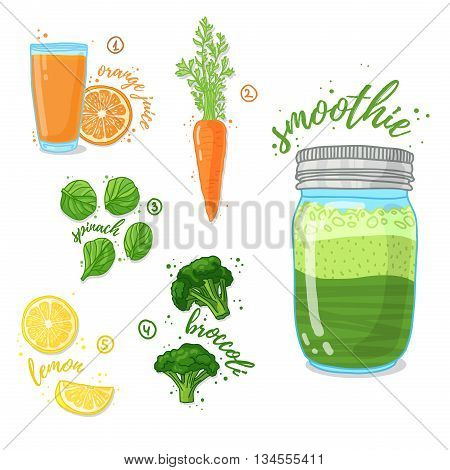 Green vegetable smoothie from spinach, broccoli, carrots for a healthy diet. Cocktail in a glass jar. Cocktail for energy and diets. Recipe vegetarian smoothies for health. Vector illustration