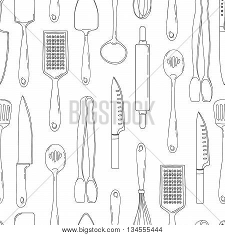 Seamless background with a pattern of outline cutlery. Vertical pattern of outline cutlery. Background with kitchen utensils in a outline style. Wallpaper with kitchen cutlery. Vector illustration