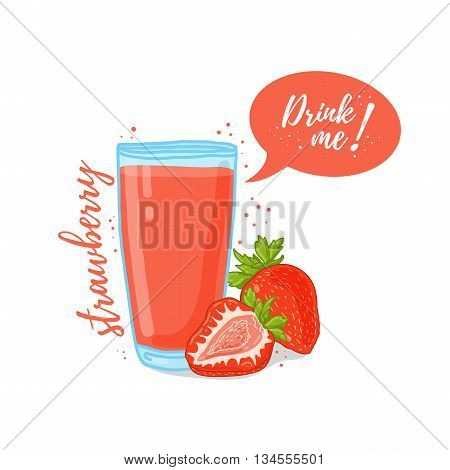 Design Template banner, poster, icons strawberry smoothies. Illustration of strawberry juice Drink me. Strawberry cocktail with berries. Vector illustration