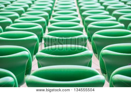 Green Plastic Seats  At Modern Stadium