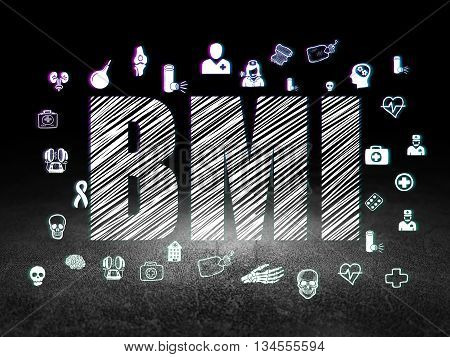 Medicine concept: Glowing text BMI,  Hand Drawn Medicine Icons in grunge dark room with Dirty Floor, black background