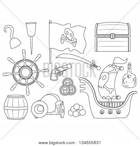 Coloring Book Page of Outlined Pirate Elements