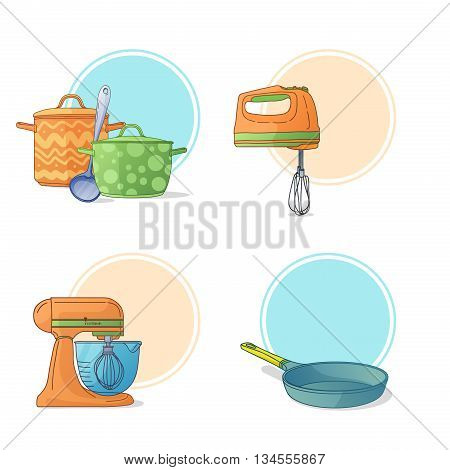 A set of kitchen utensils in a cartoon style. Kitchen tools and appliances for cooking. Labels, stickers, icons pan, blender, frying pan. Kitchen pan. Kitchen mixer. Kitchen pots. Vector