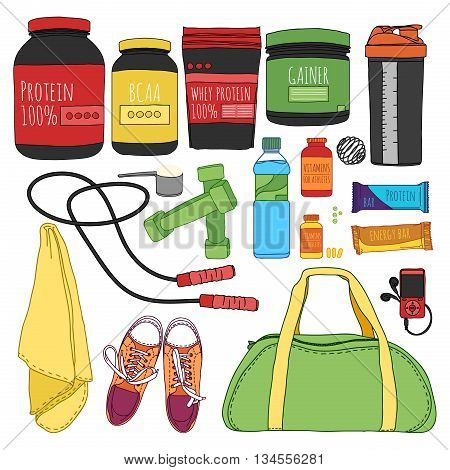 Fitness and diet set. Sports nutrition set. Bags for training, trainers, dumbbells and supplements for athletes. Things for the gym. Vector illustration