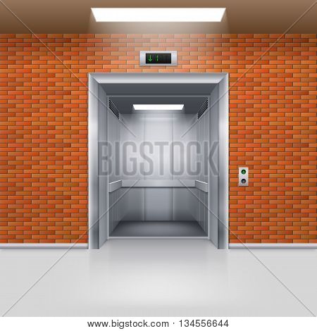 Realistic Empty Elevator with Open Door in a Brick Wall