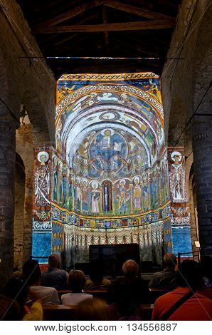 Fresco Paintings Of The Pantocrator In Church Sant Climent De Taull, Catalonia, Spain