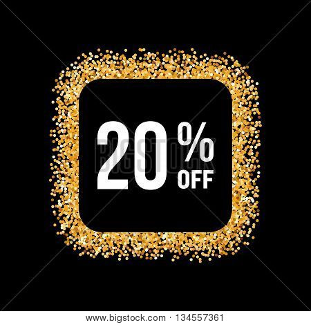 Golden Frame on Black Background with Text Twenty Percent Off