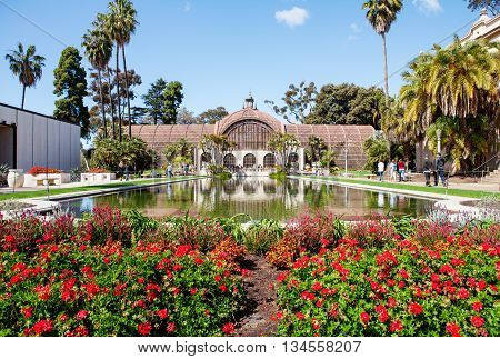 Balboa park Botanical building and pond San Diego California USA