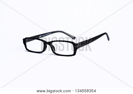 Glasses in black on isolated white background
