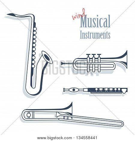 A set of wind instruments. Musical Instruments in monochrome style isolated on white background. Saxophone trumpet flute and trombone.