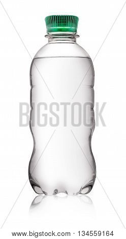 Plastic water bottle with green cover isolated on white background