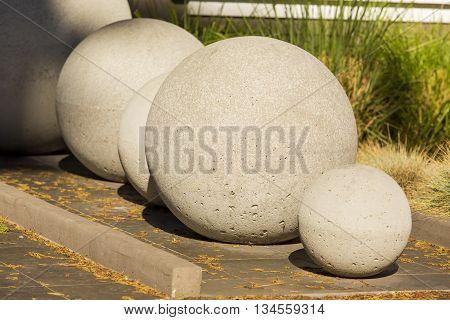 Five Stone balls. stone sphere garden sculptures