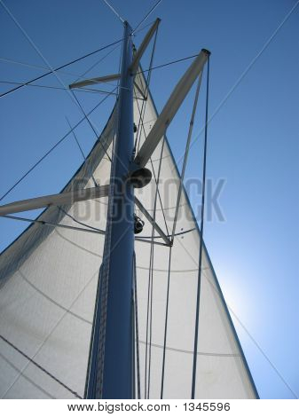 White Sail And Mast