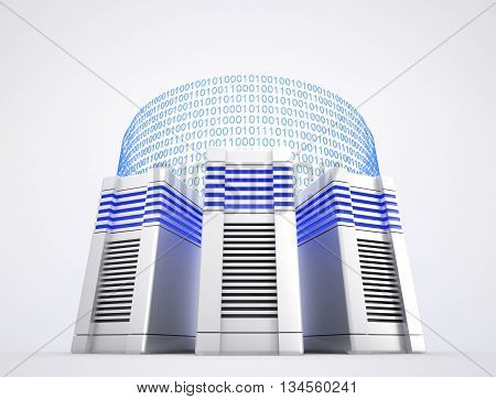 Three network servers and binary codes on white background. 3d rendered illustration.