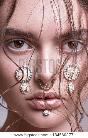 Eyes, hairstyle, make up, beauty, emotions fashion, editorial studio white bakground female model