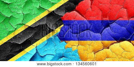 Tanzanian flag with Armenia flag on a grunge cracked wall